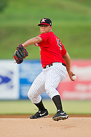 Kannapolis Intimidators starting pitcher Francellis Montas (45) in action against the Delmarva Shorebirds at CMC-Northeast Stadium on August 8, 2013 in Kannapolis, North Carolina.  The Shorebirds defeated the Intimidators 4-3.  (Brian Westerholt/Four Seam Images)