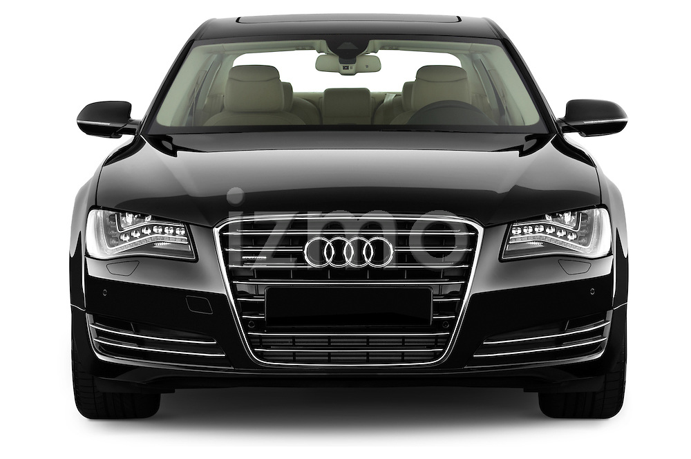 Straight front view of a 2013 Audi A8 L W12 4 Door Sedan 4WD