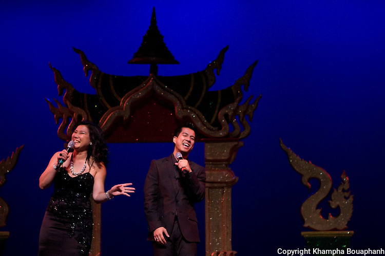 Vannasone Keodara and Mino Sundara are maters of ceremonies at the first annual Lao Artists Festival in Elgin, IL on August 21, 2010.  (photo by Khampha Bouaphanh)