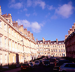 Georgian houses, Bennett Street, Bath, England view to Lansdown Hill