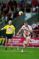 PICTURE BY CHRIS MANGNALL /SWPIX.COM...Rugby League - Super League  - St Helens Saints v Leeds Rhinos  - Langtree Park, St Helens, England  - 25/03/12... St Helens  Jonny Lomax  Kicks a conversion