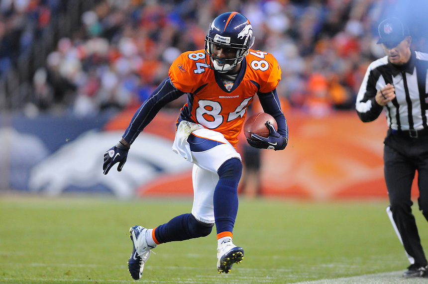 14 NOVEMBER 2010:  Broncos wide receiver Brandon Lloyd  during a regular season National Football League game between the Kansas City Chiefs and the Denver Broncos at Invesco Field at Mile High in Denver, Colorado. The Broncos beat the Chiefs 49-29.