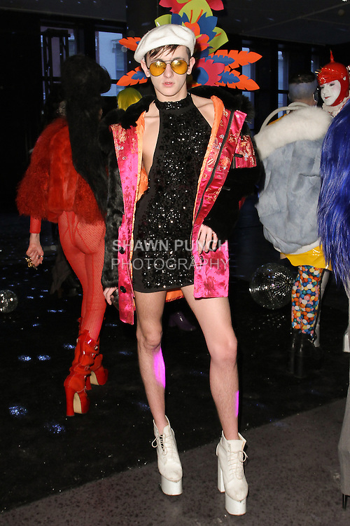"Model poses in an outfit from the Adrienne Landau Fall Winter ""Landauland"" collection fashion presentation co-produced by Susanne Bartsch and Saula Villela, at 111 West 19th Street, on February 14, 2017; during New York Fashion Week: Women's Fall Winter 2017."