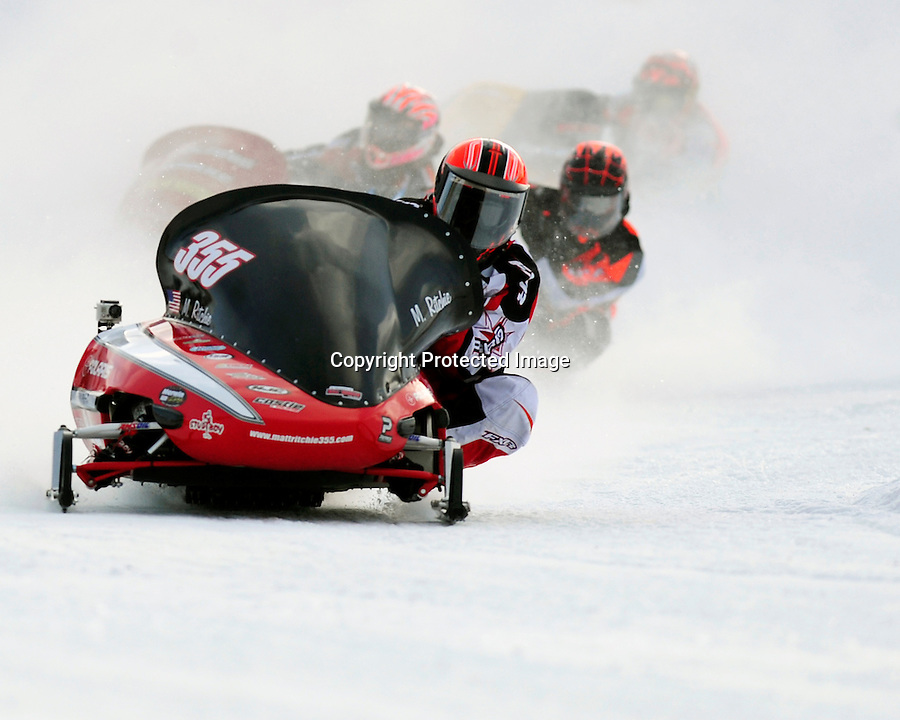 Matt Ritchie, #355, on a Polaris during the World Championship Snowmobile Derby Jan. 20, 2013, Eagle River, WI.