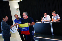 The head of IU International Extension, Francisco Perez (R)  during the incident with a Venezuelan anti President of Venezuela Nicolas Maduro.