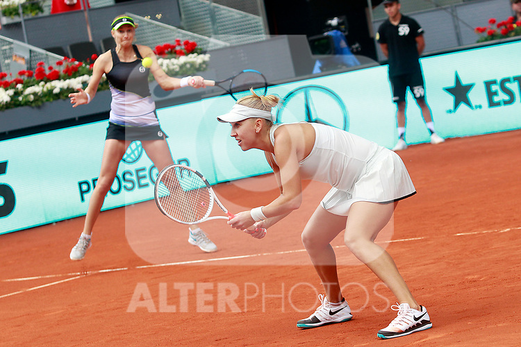 Ekaterina Makarova and Elena Vesnina, Russia, during Madrid Open Tennis 2018 WTA Doubles Final match. May 12, 2018.(ALTERPHOTOS/Acero)