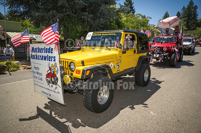 Independence Day celebration Main Street, Mokelumne Hill, California..Motherlode Rockcrawlers 4wd group