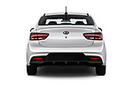 Straight rear view of a 2018 KIA Rio S 4 Door Sedan stock images