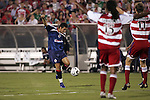 24 July 2007:  While Adrian Serioux (15) and Clarence Goodson (11) of FC Dallas motion for a handball foul apparently committed by Jose Antonio Olvera of CD Gaudalajara, Olvera shoots between them and scores.  Olvera's goal tied the match.  FC Dallas tied Chivas de Guadalajara 1-1 at Pizza Hut Park in Frisco, Texas, in the opening match of SuperLiga 2007.