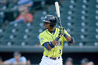 Shortstop Shervyen Newton (3) of the Columbia Fireflies bats in a game against the Hickory Crawdads on Tuesday, August 27, 2019, at Segra Park in Columbia, South Carolina. Columbia won, 3-2. (Tom Priddy/Four Seam Images)