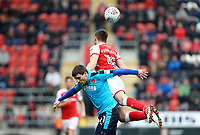 Bobby Grant of Fleetwood Town and Ben Purrington of Rotherham United during the Sky Bet League 1 match between Rotherham United and Fleetwood Town at the New York Stadium, Rotherham, England on 7 April 2018. Photo by Leila Coker.