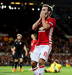 Juan Mata of Manchester United reacts after missing a chance during the UEFA Europa League match at Old Trafford Stadium, Manchester. Picture date: September 29th, 2016. Pic Matt McNulty/Sportimage