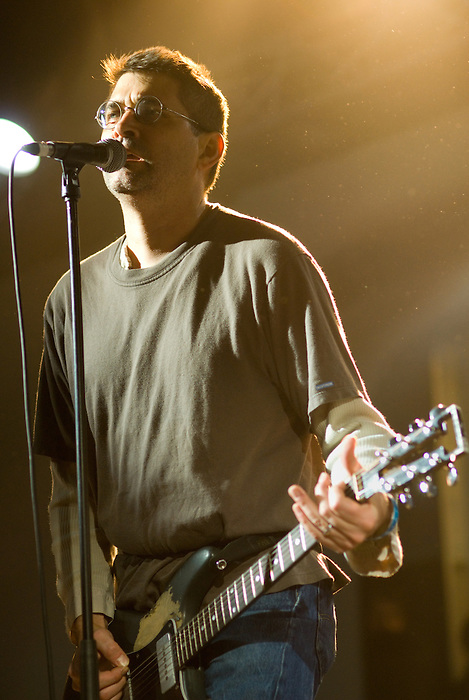 Shellac [Steve Albini pictured] performing live at Ten Years of All Tomorrow's Parties at Butlins in Minehead. 12 December 2009.