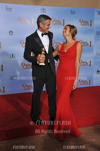 George Clooney & Stacy Kiebler at the 69th Golden Globe Awards at the Beverly Hilton Hotel..January 15, 2012  Beverly Hills, CA.Picture: Paul Smith / Featureflash