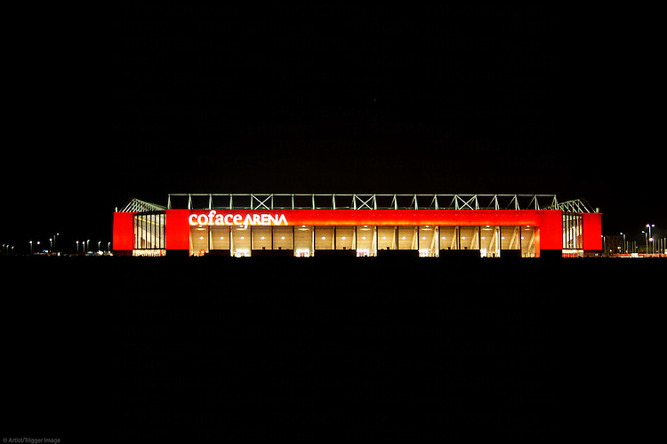 The facade of the Co Face Arena from the soccer Club 1. FC Mainz at night after a game on March 09, 2014 in Mainz.