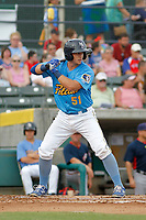 Myrtle Beach Pelicans catcher P.J. Higgins (51) at bat during a game against the Potomac Nationals at Ticketreturn.com Field at Pelicans Ballpark on July 1, 2018 in Myrtle Beach, South Carolina. Myrtle Beach defeated Potomac 6-1. (Robert Gurganus/Four Seam Images)