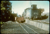D&amp;RGW #491 K-37 sitting by ash pit in Chama.<br /> D&amp;RGW  Chama, NM