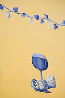 Europe/France/Midi-Pyrénées/81/Tarn/Carmaux: détail mur peint d'un bar-restaurant sur le thème du vin et de   la vigne