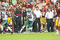 Landover, MD - August 16, 2018: New York Jets defensive back Doug Middleton (36) returns an interception during the preseason game between New York Jets and Washington Redskins at FedEx Field in Landover, MD.   (Photo by Elliott Brown/Media Images International)