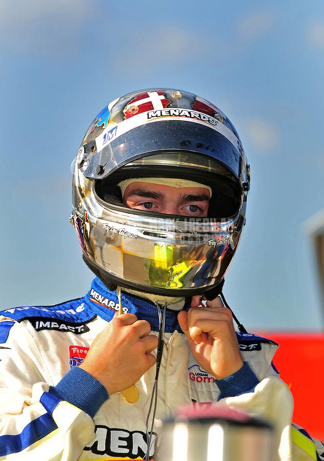 Jun. 20, 2008; Newton, IA, USA; Indy Light Series driver Logan Gomez during qualifying for the Jeld Wen 100 at the Iowa Speedway. Mandatory Credit: Mark J. Rebilas-