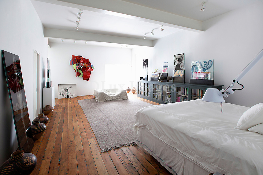 Bedroom with artworks
