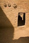 Pueblo Bonito-three vigas, shadow and doorway..Chaco Culture National Historical Park