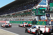 17th June 2017, Le mans, France; WEC 24 Hours of Le Mans endurance race;  #7 TOYOTA GAZOO RACING (JPN) TOYOTA TS050 HYBRID LMP1 MIKE CONWAY (GBR) KAMUI KOBAYASHI (JPN) STEPHANE SARRAZIN (FRA) START OF THE LE MANS 24 HOURS as the front of the grid take off