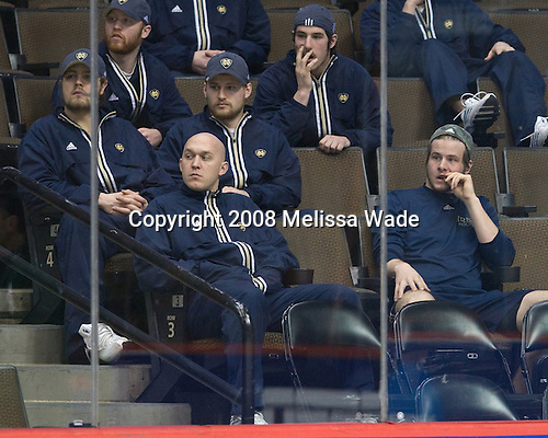 ?, Kevin Deeth (Notre Dame 21), ?, ?, ?, ? - The 2008 Frozen Four participants practiced on Wednesday, April 9, 2008, at the Pepsi Center in Denver, Colorado.