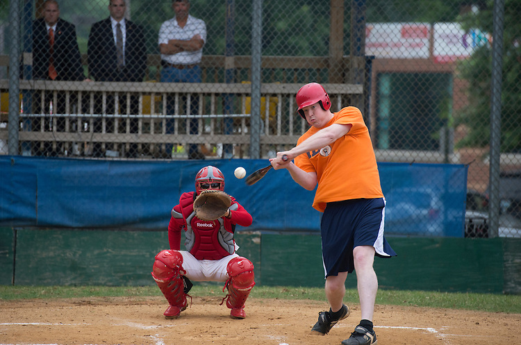 UNITED STATES - JUNE 1:  Candidate for Congress Jason Plummer, R-Ill., hits a triple during republican baseball practice at Simpson Stadium in Alexandria, Va.  (Photo By Tom Williams/CQ Roll Call)