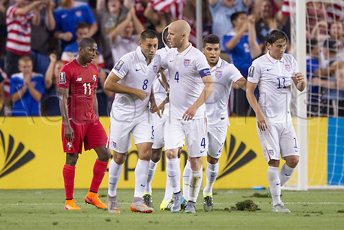 13.07.2015., Kansas City, MS, USA.  Team USA celebrates after their equalising goal from Micheal Bradley (4) during the CONCACAF Gold Cup Group Stage match between Panama and the USA at Sporting Park in Kansas City, Kansas.  The match would end in a 1-1 tie.