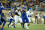 BROOKINGS, SD - SEPTEMBER 10:  Austin Smenda #34 from South Dakota State makes an interception against Drake during their game at the Dana J. Dykhouse Stadium Saturday night in Brookings. (Photo by Dave Eggen/Inertia)