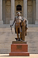 Statue of George Washington, placed in honor of our nation's first president.  Situated on the north side of the SC state capitol building, facing Gervais Street.  The bottom part of the cane was broken off by General Sherman's soldiers, during the US Civil War.