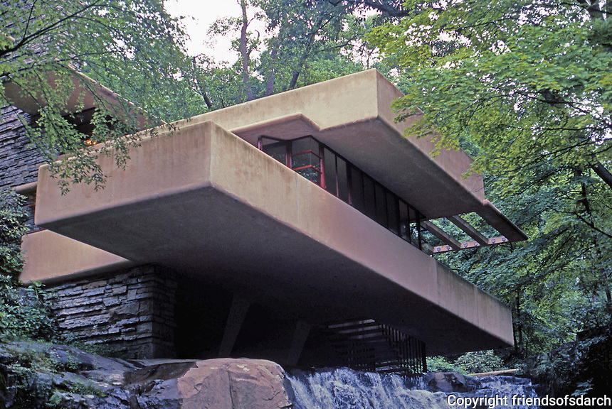 F.L. Wright: Fallingwater. Seen from below.  Photo '76.