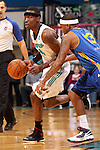 SIOUX FALLS, SD - JANUARY 15:  Chris Davis #14 from the Sioux Falls Skyforce drives against Stefhon Hannah #13 from the Santa Cruz Warriors in the first quarter of their game Tuesday night at the Sioux Falls Arena. (Photo by Dave Eggen/Inertia)