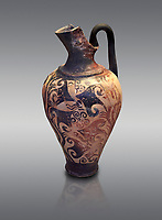Mycenaean jug decorated with ivy leaves , Grave I, Grave Circle A, Mycenae 16-15 Cent BC. National Archaeological Museum Athens. Cat No 199.  Grey Background