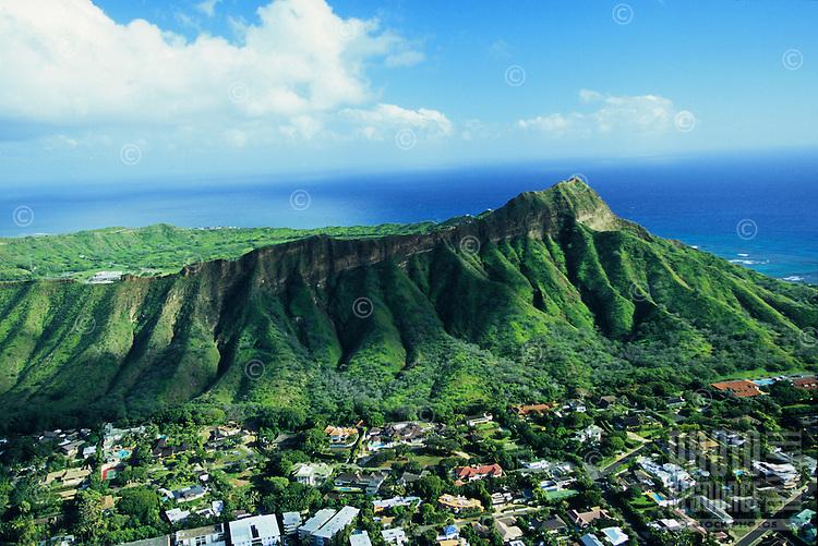 Aerial over Diamond Head and the neighborhood of Kapahulu in Honolulu, Hawaii