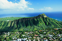 Aerial over Diamond Head and the neighborhood of Kapahulu in Honolulu, Hawaii