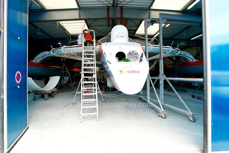 The trimaran Sodebo in a shed during a refit after an attempt around the world, in Saint Philibert, Brittany, France.