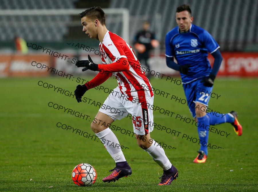 Fudbal Super League season 2016-2017<br /> Crvena Zvezda v Mladost (Lucani)<br /> Luka Adzic (L)<br /> Beograd, 01.12.2016.<br /> foto: Srdjan Stevanovic/Starsportphoto&copy;