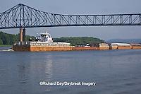 63895-13115 Barge under bridge on Mississippi River at Savanna, IL