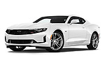 Stock pictures of low aggressive front three quarter view of a 2019 Chevrolet Camaro 1LT 2 Door Coupe