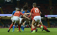 No way through for Italy&rsquo;s Ilaria Arrighetti<br /> <br /> Photographer Ian Cook/CameraSport<br /> <br /> 2018 Women's Six Nations Championships Round 4 - Wales Women v Italy Women - Sunday 11th March 2018 - Principality Stadium - Cardiff<br /> <br /> World Copyright &copy; 2018 CameraSport. All rights reserved. 43 Linden Ave. Countesthorpe. Leicester. England. LE8 5PG - Tel: +44 (0) 116 277 4147 - admin@camerasport.com - www.camerasport.com
