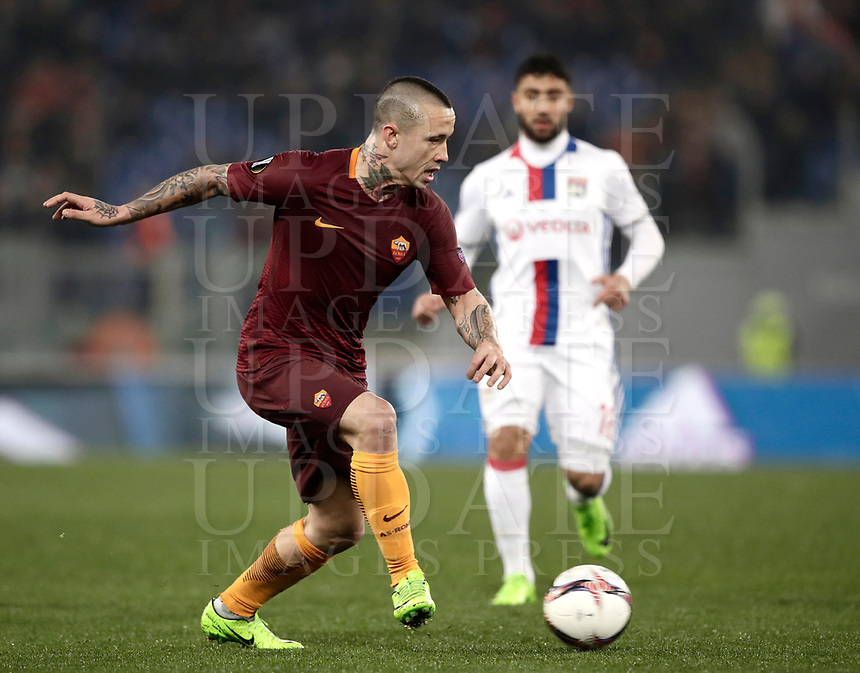 Football Soccer: Europa League Round of 16 second leg, Roma-Lyon, stadio Olimpico, Roma, Italy, March 16,  2017. <br /> Roma's Radja Nainggolan in action during the Europe League football soccer match between Roma and Lyon at the Olympique stadium, March 16,  2017. <br /> Despite losing 2-1, Lyon reach the quarter finals for 5-4 aggregate win.<br /> UPDATE IMAGES PRESS/Isabella Bonotto