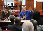 Kingston Mayor, Steve Noble and Police Chief Egidio F. Tinti, answer questions from the audience at a Community Policing Forum, sponsored by the Kingston Branch of ENJAN and the Ministers Alliance of Ulster Co., held at New Progressive Baptist Church, on Hone Street in Kingston, NY, on Tuesday, December 13, 2016. Photo by Jim Peppler; Copyright Jim Peppler 2016.