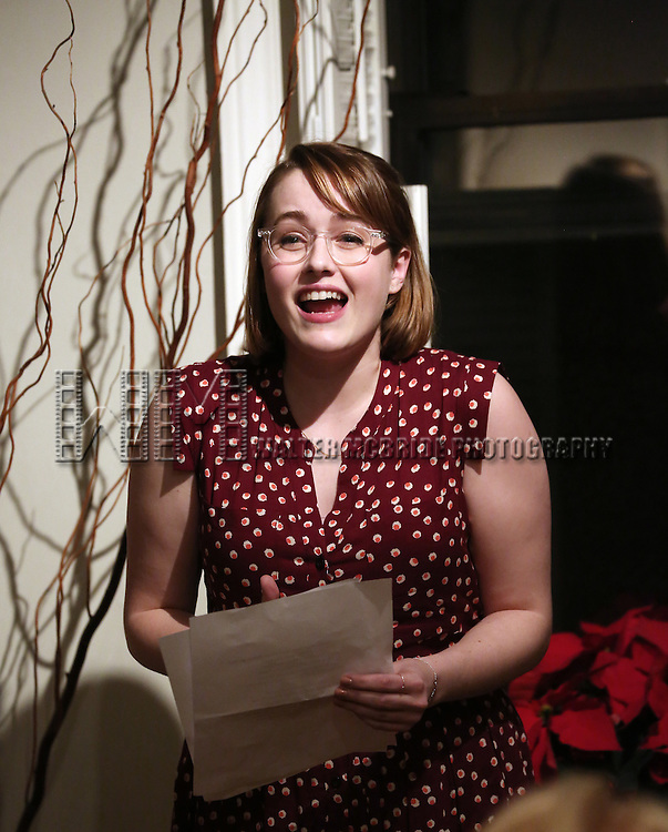 Caitlin Kinnunen attends the Dramatists Guild Fund Salon with Matthew Sklar and Chad Beguelin at the home of Gretchen Cryer on December 8, 2016 in New York City.