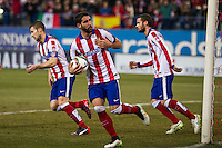 Atletico de Madrid´s Raul Garcia, Gabi and Mario Suarez during 2014-15 Spanish King Cup match between Atletico de Madrid and Barcelona at Vicente Calderon stadium in Madrid, Spain. January 28, 2015. (ALTERPHOTOS/Luis Fernandez) /nortephoto.com<br />