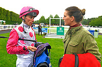 Jockey Kieran Shoemark talks to connections of Mankayan in the Winners enclosure after winning The Sorvio Insurance Brokers Maiden Stakes during Evening Racing at Salisbury Racecourse on 11th June 2019