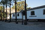 Soberano brandy cognac brand sign on building, Gonzalez Byass bodega, Jerez de la Frontera, Cadiz province, Spain