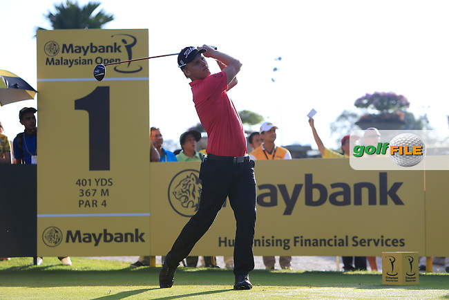 Morten Orum Madsen (DEN) on the 1st tee during Round 3 of the Maybank Malaysian Open at the Kuala Lumpur Golf &amp; Country Club on Saturday 7th February 2015.<br /> Picture:  Thos Caffrey / www.golffile.ie