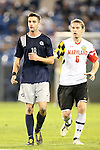 07 December 2012: Georgetown's Steve Neumann (18) and Maryland's Helge Leikvang (NOR) (6). The University of Maryland Terrapins played the Georgetown University Hoyas at Regions Park Stadium in Hoover, Alabama in a 2012 NCAA Division I Men's Soccer College Cup semifinal game. The game ended in a 4-4 tie after 2 overtimes. Georgetown advances to the Championship game 4-3 on penalty kicks.